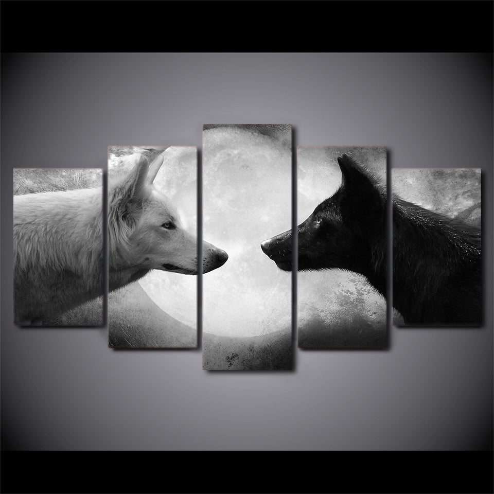 Canvas Paintings Printed 5 Pieces Black And White Wolves Wall Art Canvas Pictures