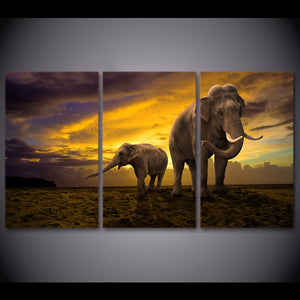 HD Printed 3 Piece Elephant Canvas Painting Sunset Large Canvas Wall Art Wall Pictures