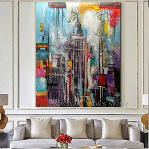 Hand Painted Abstract Oil Painting On Canvas Tall Building Art Picture Wall Art