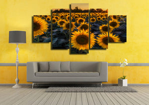 HD Printed Sunflower Field In Evening Painting Canvas Print Room Decor Print Poster Picture Canvas