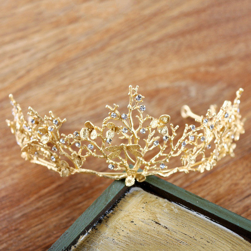 Wedding Bridal Hair Accessories Bridesmaid Women Girls Gold Crystal Tiara Crown Headbands
