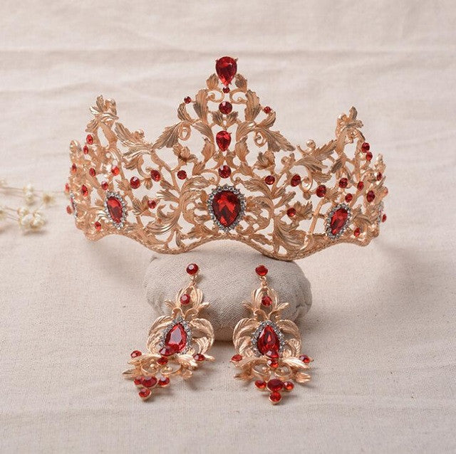 Baroque Magnificent Red Crystal Bridal Tiaras Green Wedding Crown Bride Pageant Wedding