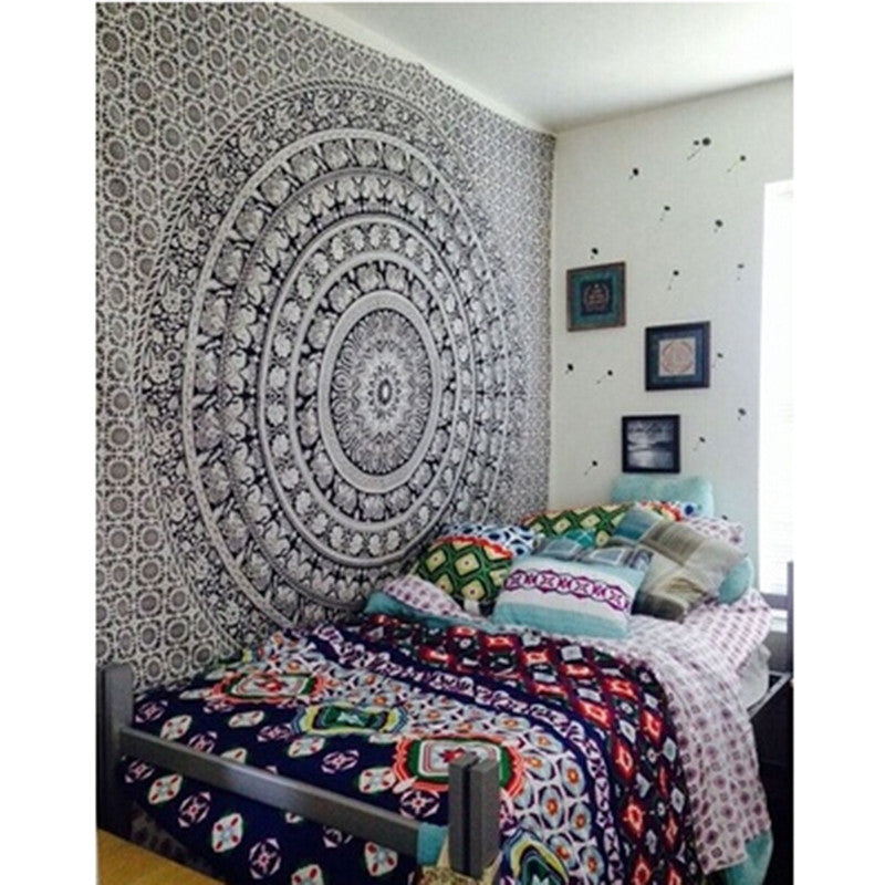 Wall Tapestry Elephant Printed Bohemian Rectangular Tapestry Wall Hanging Mandala Bedspread Shawl Ethnic Art
