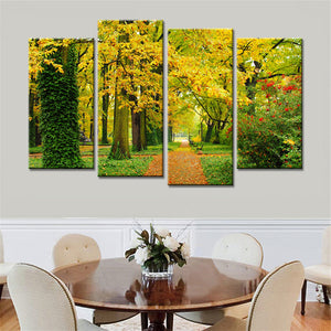 4 Panels Landscape Autumn Trees Maple Leaf Modern Wall Painting Wall Art Canvas Pictures