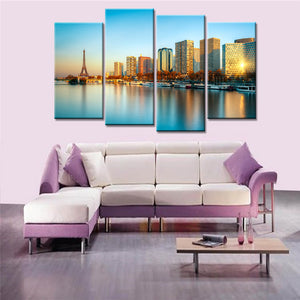 4 Panels Landscape Paris Seine River Harbor Buildings Canvas Wall Art Painting