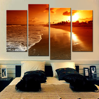 4 Pieces Wall Art Canvas Print Modular Painting Beautiful Sea Sunset Landscape