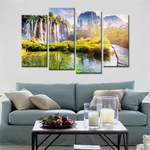 4 Pieces Landscape Mountains Waterfall Trees Wall Pictures Print Painting on Canvas Art