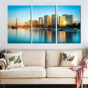 3 Panels Paris Harbor Seine River Landscape Buildings Canvas Wall Art Painting