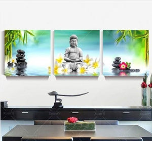 3 Panels Unframed Canvas Photo Prints Buddha Wall Art Picture Canvas Paintings Wall Decorations Artwork
