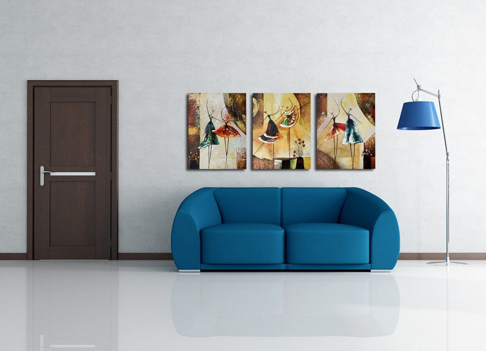 3 Panel Ballet Dancer Abstract Wall Art Picture Home Decor Oil Painting On Canvas