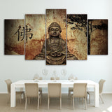 HD Printed 5 Piece Canvas Buddha Combine Painting Living Room Decoration Bedroom Wall Art