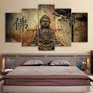 HD Printed 5 Piece Canvas Art Buddha Combine Painting Decoration Bedroom Wall