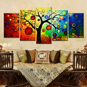 5 Pieces Abstract Tree Wall Decorative Painting Canvas Art Prints Wall Art Canvas Pictures Decor