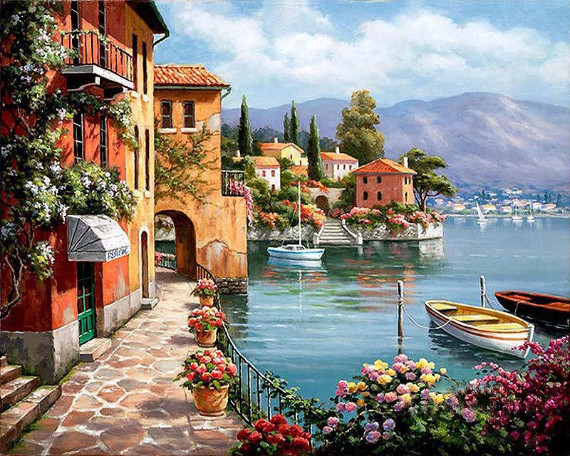 Venice Resorts Seascape DIY Painting By Numbers Handpainted Oil Painting Living Room Home Wall Decor Artwork 40x50cm