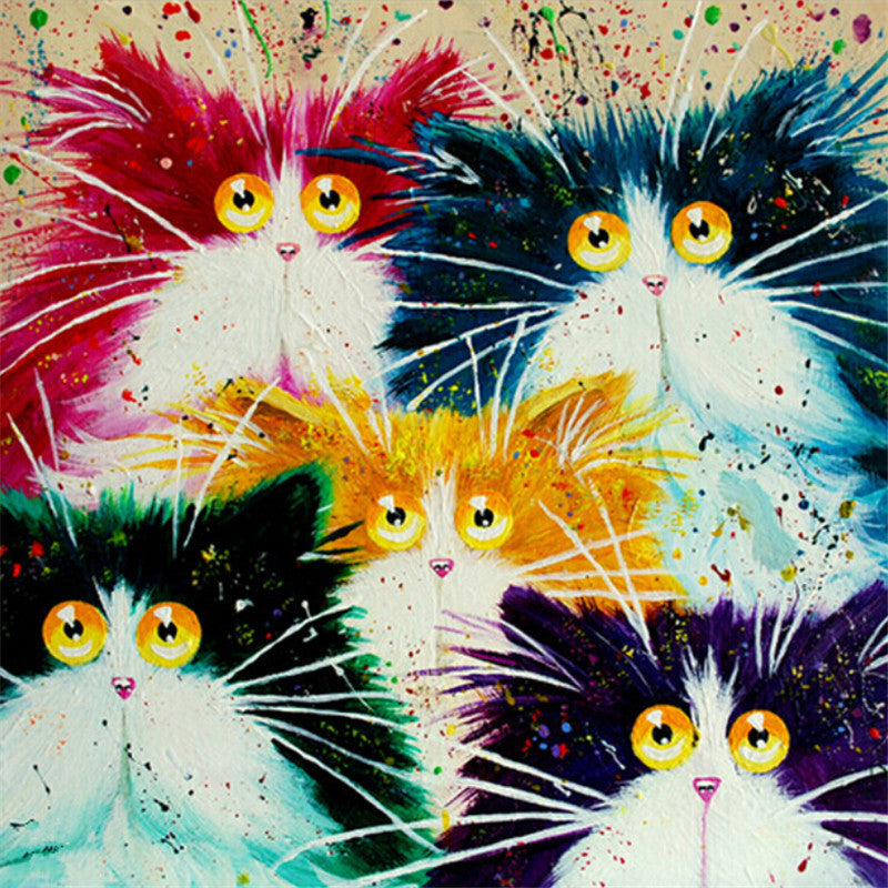 Framed Picture Painting By Numbers DIY Coloring By Numbers On Canvas Colorful Cats Home Decor
