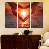 3 Pieces Heart Shape Gesture Sunset on Canvas Wall Art Paintings