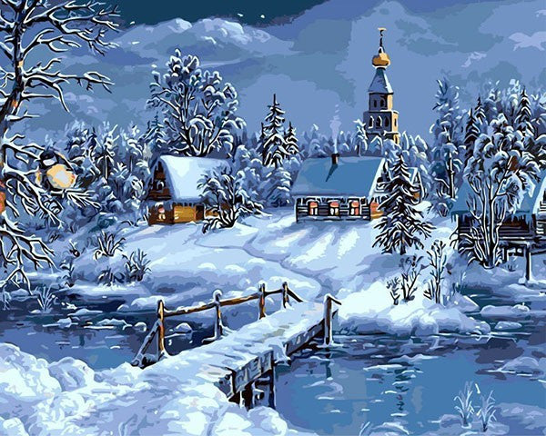Christmas Snow Landscape Painting By Numbers Canvas Painting For Christmas Decoration Artwork