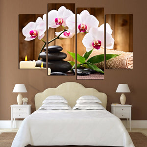 4 Pcs Pink Flowers Wall Art Picture Modern Home Decoration Canvas Print Painting Wall