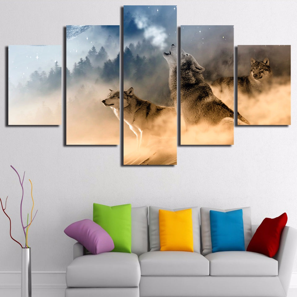 5 Pieces Winter Misty Morning Forest Wolfs Animal Modern Canvas Picture Art HD Print Painting Artworks