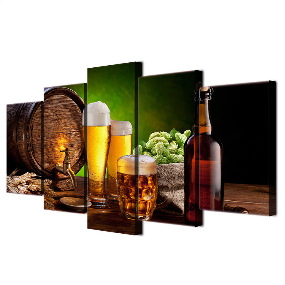 HD Printed Beer Barrel Bottle Hop Malt Painting Canvas Print Room Poster Picture Canvas