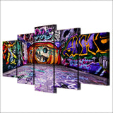 HD Printed Graffiti 5 Piece  Painting Wall Decor Poster Canvas Art Purple
