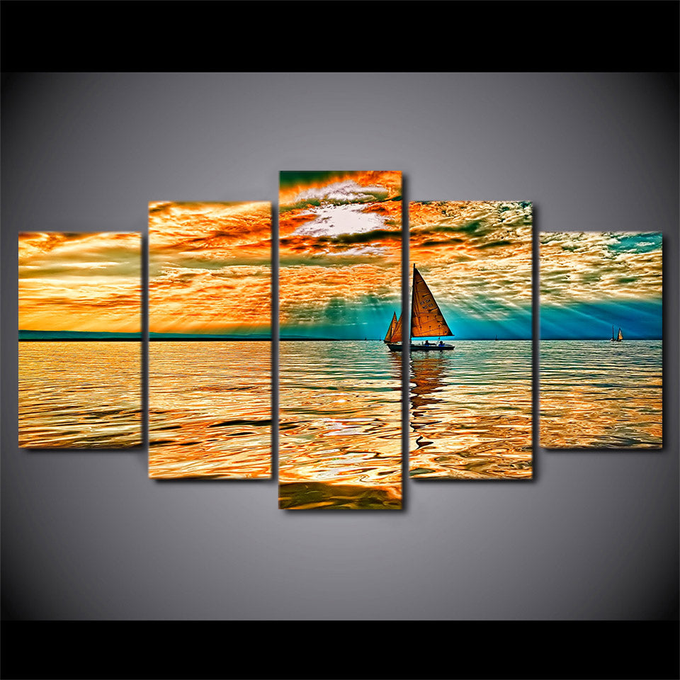 HD Printed 5 Piece Canvas Art Sky Clouds Sun Rays Lake Sailboat Painting Canvas Print Print