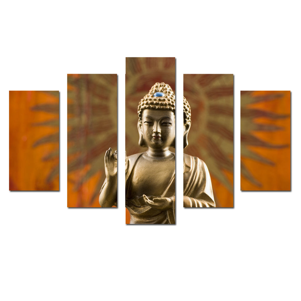 Canvas Prints Wall Decor 5 Panel Golden Buddha Wall Art Religious Buddha Portrait Painting