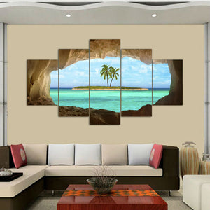 5 Pcs Azure Ocean Island Palm Tree Coconut Tree Seascape Home Wall Decor Canvas Picture Art HD Print Painting On Canvas