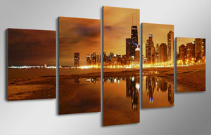 5 Piece Canvas Art Chicago Evening Painting Posters And Prints Room Decor Paintings