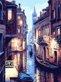 Frameless Venice Night Landscape DIY Digital Oil Painting By Numbers Europe Abstract Canvas Painting