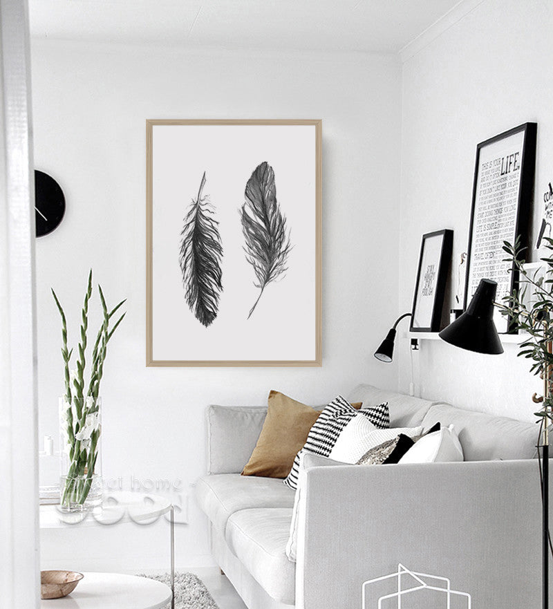 Black Feather Canvas Art Print Poster, Wall Pictures Home Decoration,