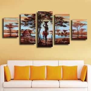 5 Piece Oil Painting On Canvas Wall Art African Landscape Woman Picture