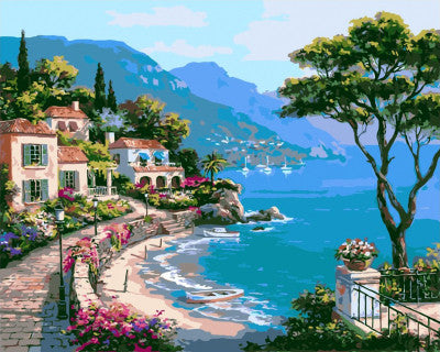 Framed Picture Painting By Numbers Home Decor DIY Canvas Oil Painting Landscape Mediterranean Sea Pattern 40x50cm