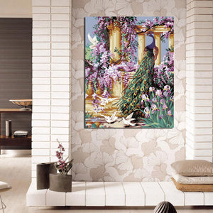 DIY Peacock Oil Painting By Numbers Hand Wall Painting On Canvas Coloring