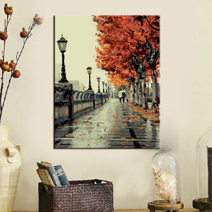 Wall Pictures Paint by Numbers Landscape Art Oil Painting Coloring by Numbers on Canvas