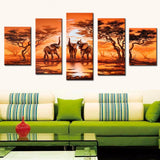 5 Pieces Canvas Painting African Modern Art Elephants Pictures Handmade Landscape