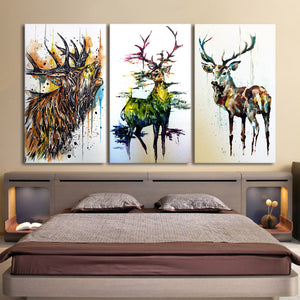 Printed 3 Piece Elk Graffiti Deer Canvas Paintings Living Room Wall Art Canvas