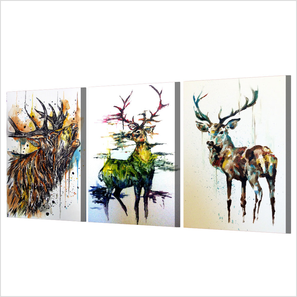 HD Printed 3 Piece Elk Graffiti Deer Canvas Paintings Living Room Wall Art Canvas 3 Panel