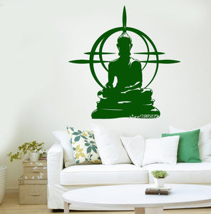 Buddha Vinyl Wall Stickers Removable Wall Decal Chakra Mandala Mantra Chakra Meditation Sticker Decor yoga Room Poster