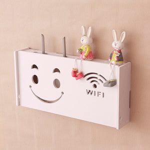Wireless Wifi Router Box Wood-Plastic Shelf Wall Hangings Bracket Cable Storage