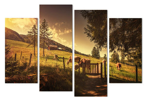 4 Piece Canvas Painting Farm Cows Land HD Printed Canvas Art Prints Wall Art