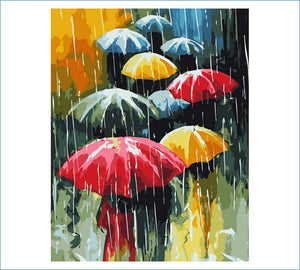 Umbrella Rain DIY Painting By Numbers Kits Oil Painting On Canvas Home Decoration