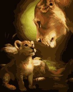 Picture Painting By Numbers Home Decor DIY Canvas Oil Painting Of Lion Motherhood