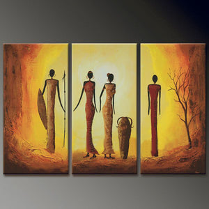 3 Panel Acrylic Paintings Canvas Art Pictures Home Decor Abstract African Women Figure Painting