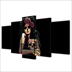 HD Printed 5 Piece Sets Skull Canvas Wall Art  Day of the Dead Face Painting