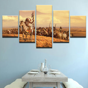 5 Panel American Native Tribes Indian Wall Art Picture Canvas Print Wall Picture Printing