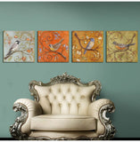4 Panel Vintage Birds Europe Home Decor Wall Art Picture Print Painting On Canvas