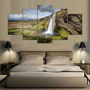 Wall Art Canvas Painting 5 Panel Waterfall Landscape Poster Wall Pictures