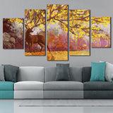 Canvas Wall Art Pictures Modular Painting 5 Panel Animal Abstract Watercolor Tree Deer HD Printed Poster
