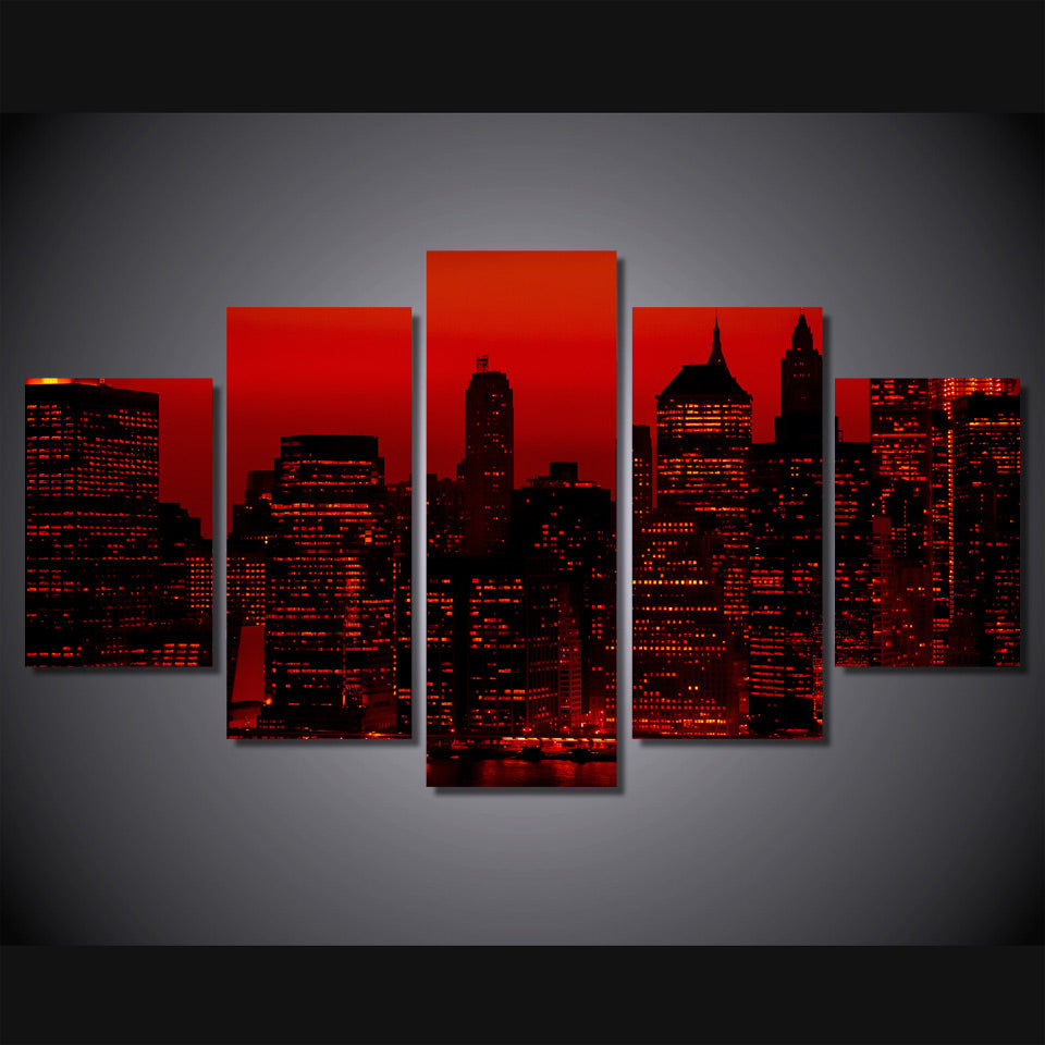 HD Printed Red Sky Night New York City Painting On Canvas Room Decoration Print Poster Picture